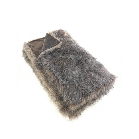 "60""x50"" Faux Fur Throw Blanket Brown - Threshold™ - image 1 of 3"