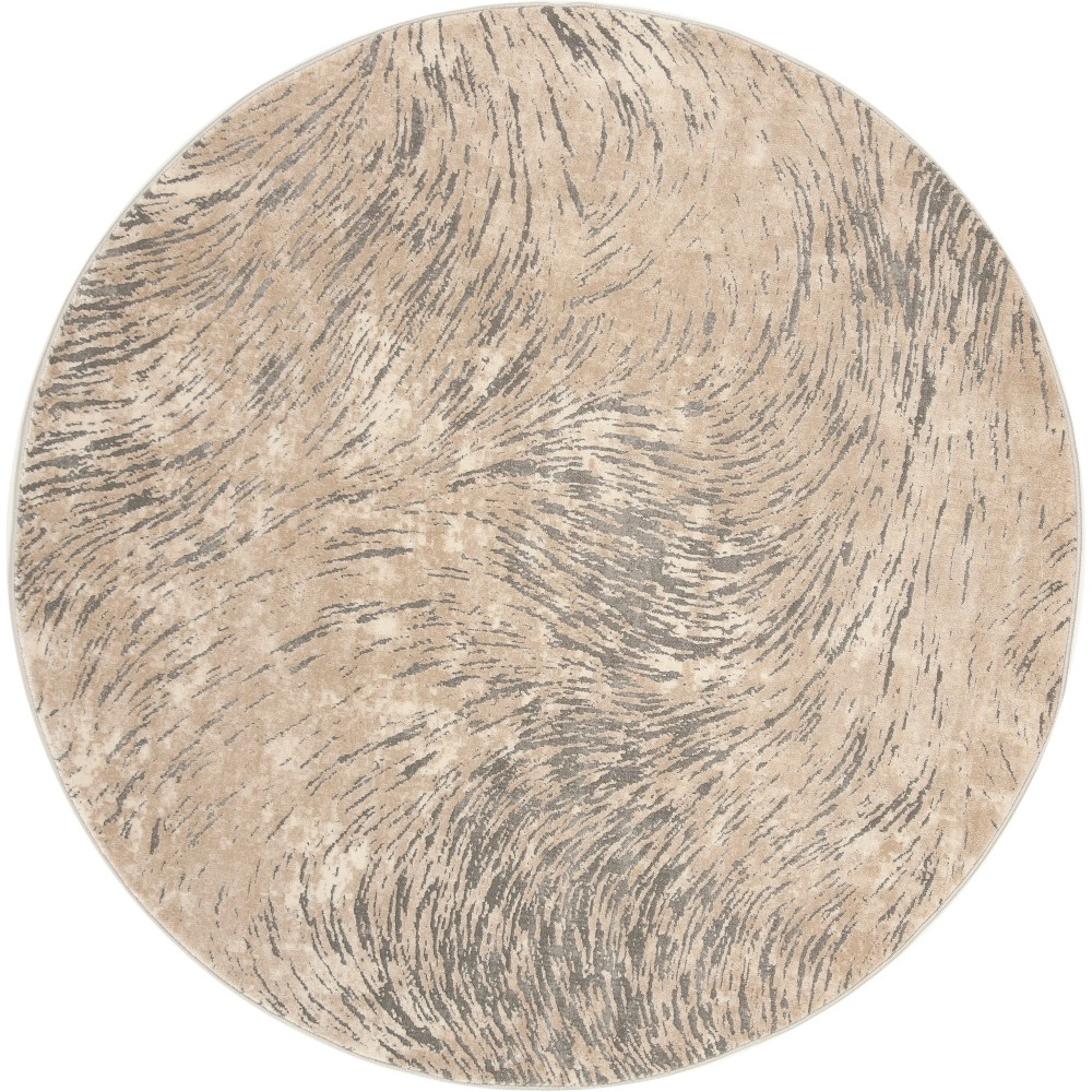 67 Wave Loomed Round Area Rug Ivory/Gray - Safavieh Price