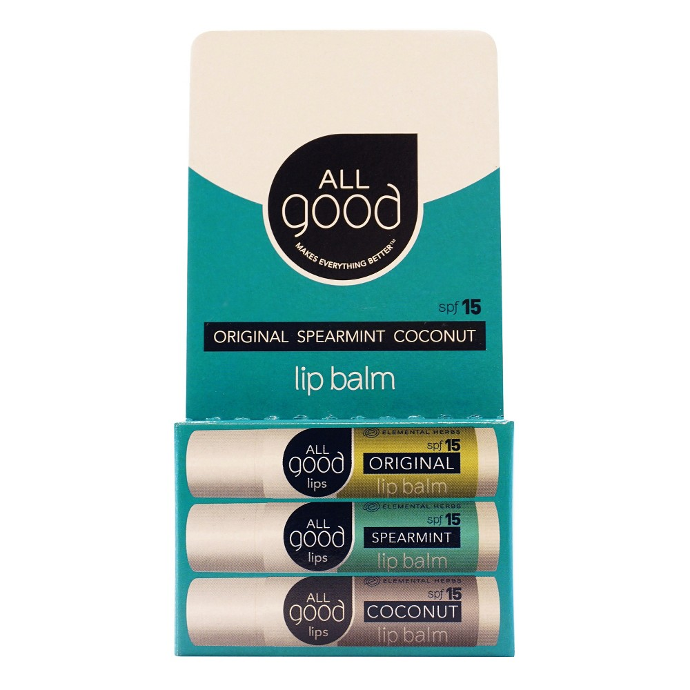 Image of All Good Lip Balm Variety Pack - Original, Spearmint & Coconut .45 oz ea