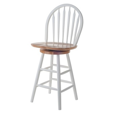 """Kitchen 24"""" Counter Height Barstool Hardwood/White - Winsome"""