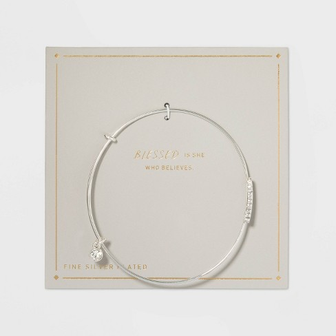 Silver Plated Thin Expandable Blessed Bangle Bracelet - Silver - image 1 of 2