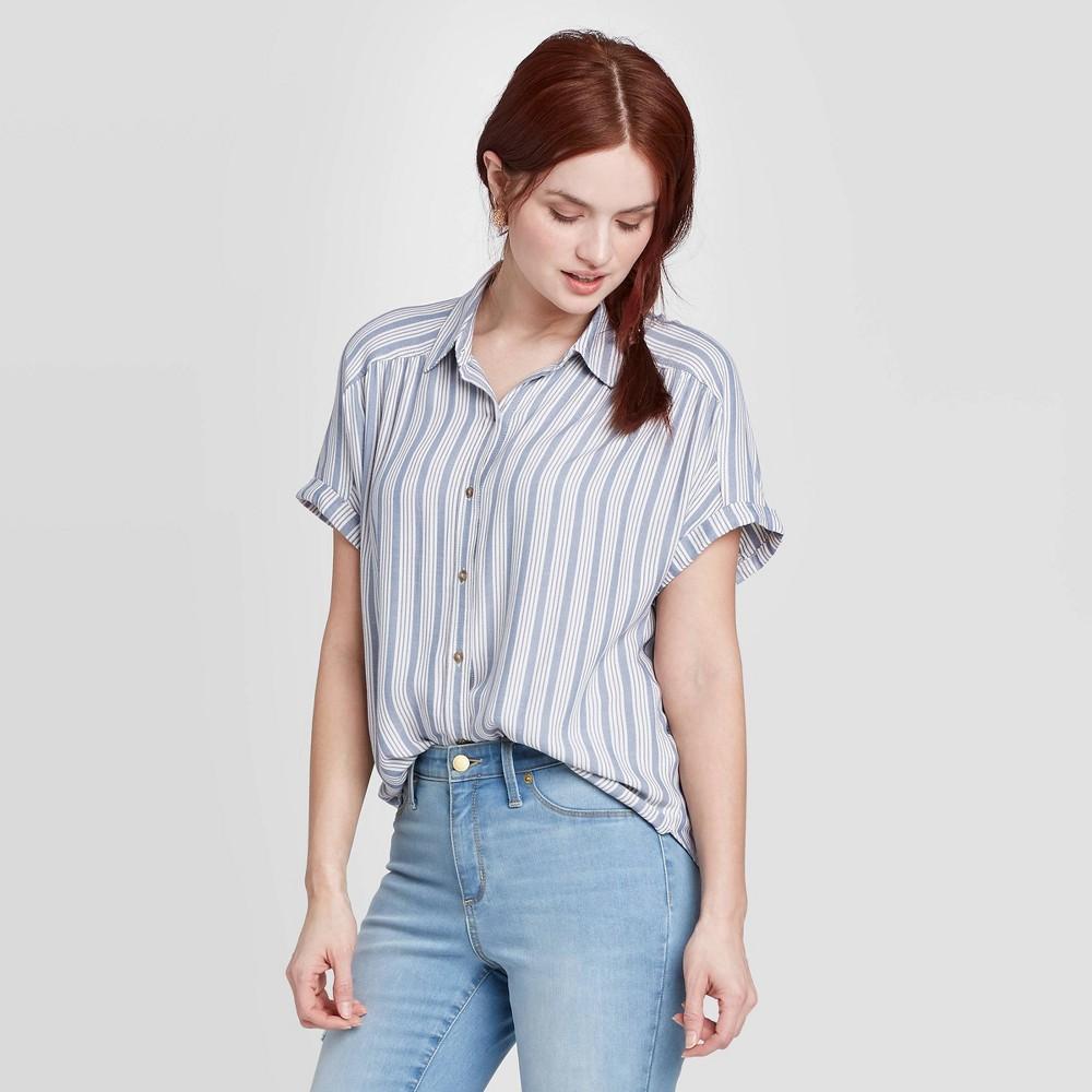 Woen 39 s Striped Short Sleeve Button Down Cap Shirt Universal Thread 8482