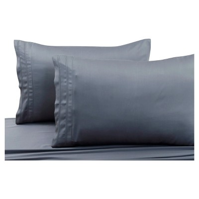 Rayon from Bamboo Solid Pillowcase Pair (Standard)Steel Gray 300 Thread Count - Tribeca Living®