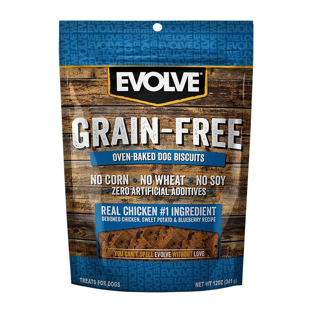 Evolve Grain-Free Chicken Dog Biscuits - 12oz