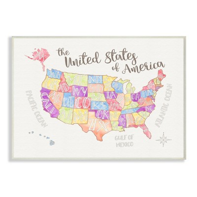 United States US Map Water Color Wall Plaque Art (12.5 x18.5 x0.5 )- Stupell Industries