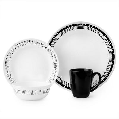 Corelle Dallas Vitrelle 16pc Dinnerware Set - Black/White