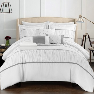 Chic Home Stieg 10 Piece Comforter Set Complete Decorative Pillows Shams - White
