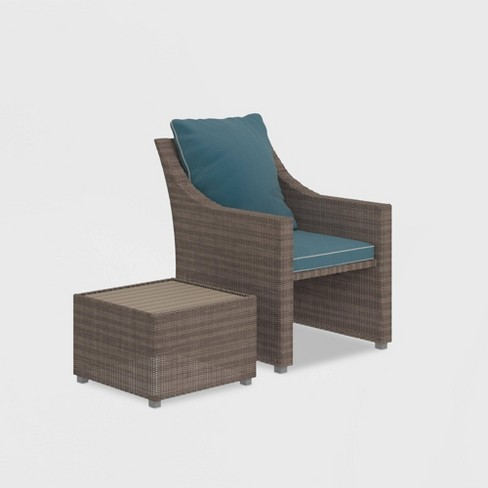 Brilliant Cosco 2Pc Lounge Chair Ottoman Patio Set Gray Pabps2019 Chair Design Images Pabps2019Com