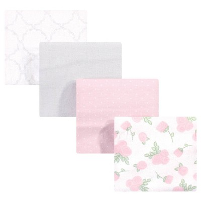 Hudson Baby Unisex Baby Cotton Flannel Receiving Blanket - Gray Pink Rose One Size