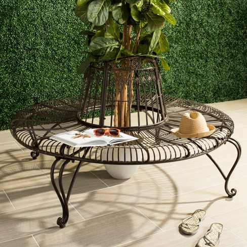 Ally Darling Wrought Iron Outdoor Tree Bench Rustic Brown Safavieh Target