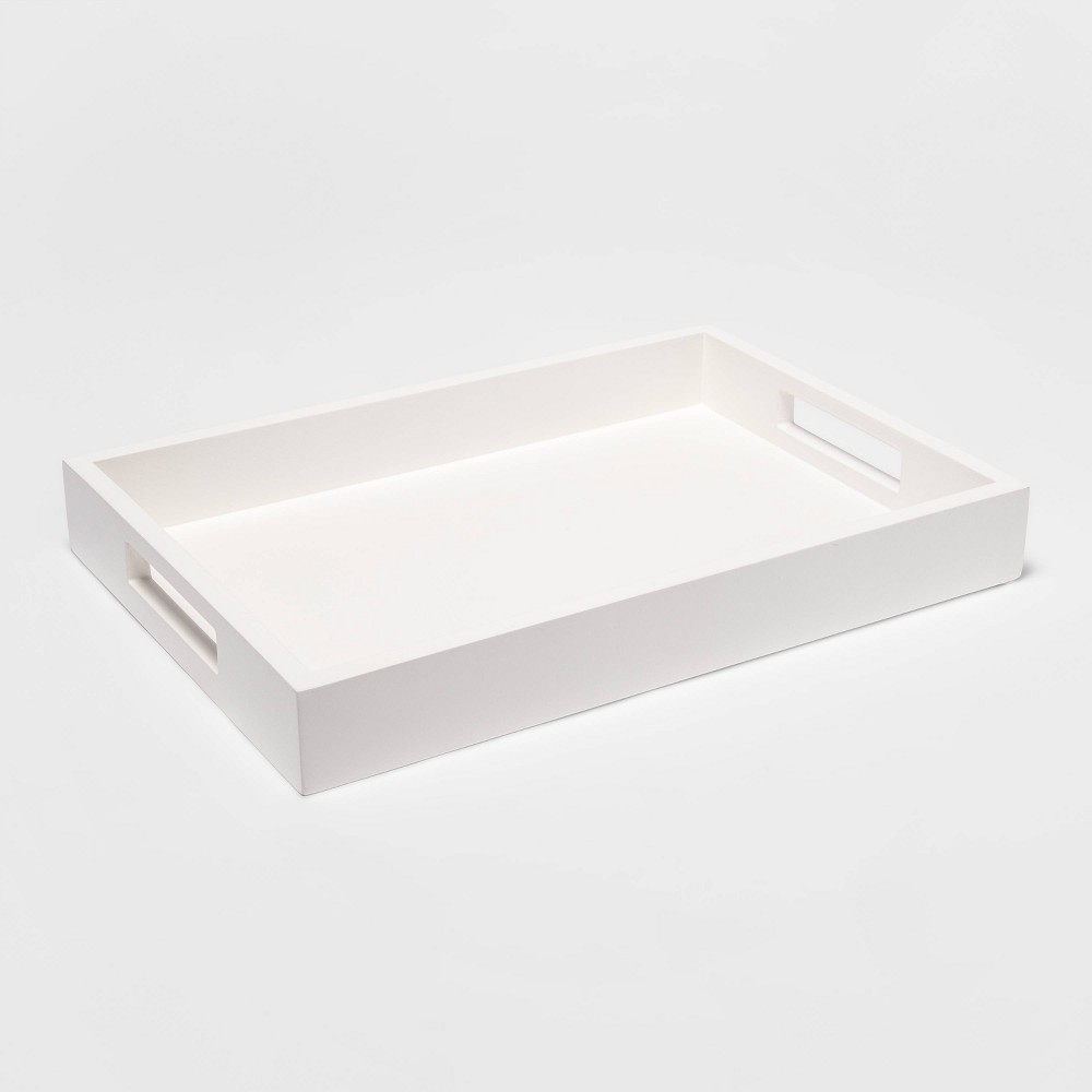 """Image of """"16"""""""" x 2"""""""" Decorative Rectangle Tray White - Project 62"""""""