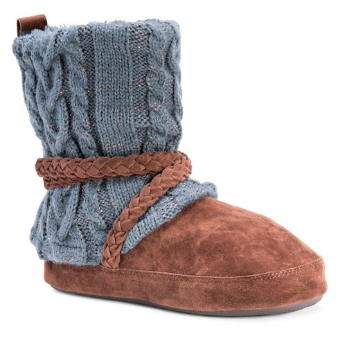 Womens Muk Luks Judie Cable Knit Slipper Boots Pewter S5 6
