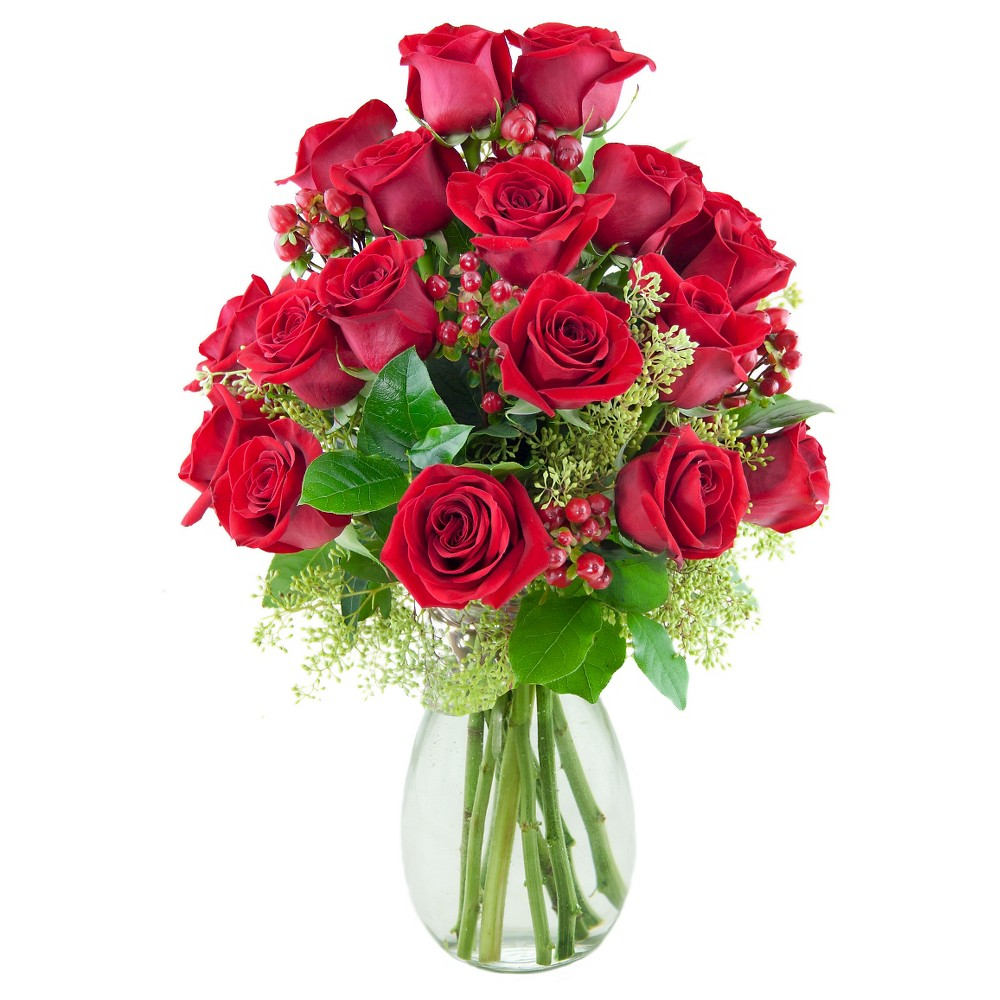 KaBloom Lady in Red Roses Fresh Flower Arrangement - with Vase