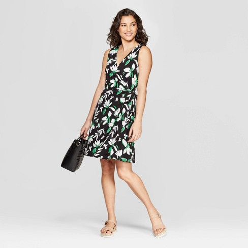 Women's Floral Print Sleeveless V-Neck Wrap Dress - A New Day™ Black - image 1 of 3