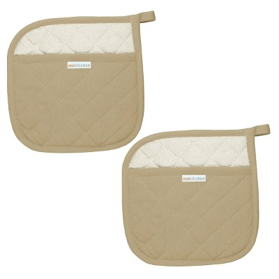 100% Cotton Herringbone Potholder (Set Of 2)Flax Tan - Mu Kitchen