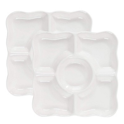 Juvale 2 Pack Porcelain Appetizer Serving Tray, 5-Compartment Platter, White (9.5 x 9.5 x 1 In)