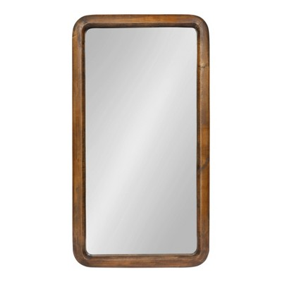 """17"""" x 32"""" Pao Framed Wood Wall Mirror Walnut Brown - Kate and Laurel"""