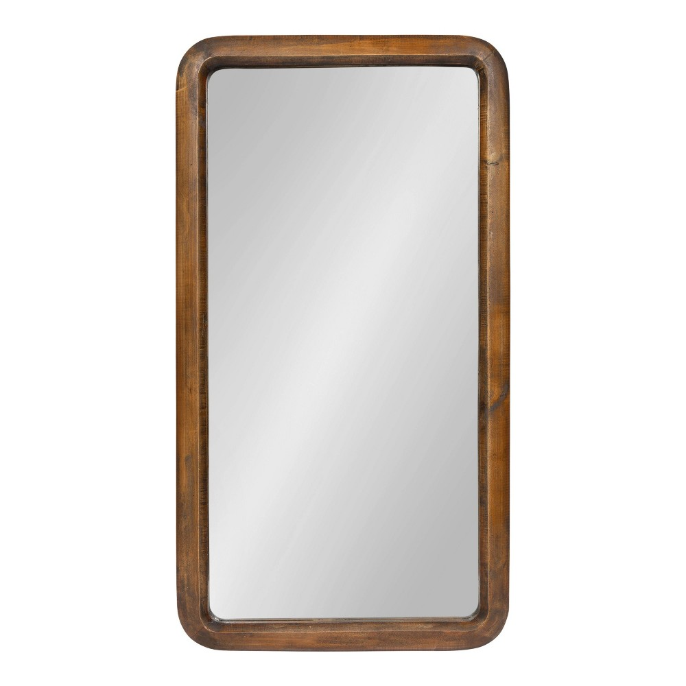 """Image of """"17""""""""x32"""""""" Pao Framed Wood Wall Mirror Walnut - Kate and Laurel"""""""