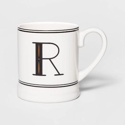 16oz Stoneware Monogram Mug Cream R - Threshold™