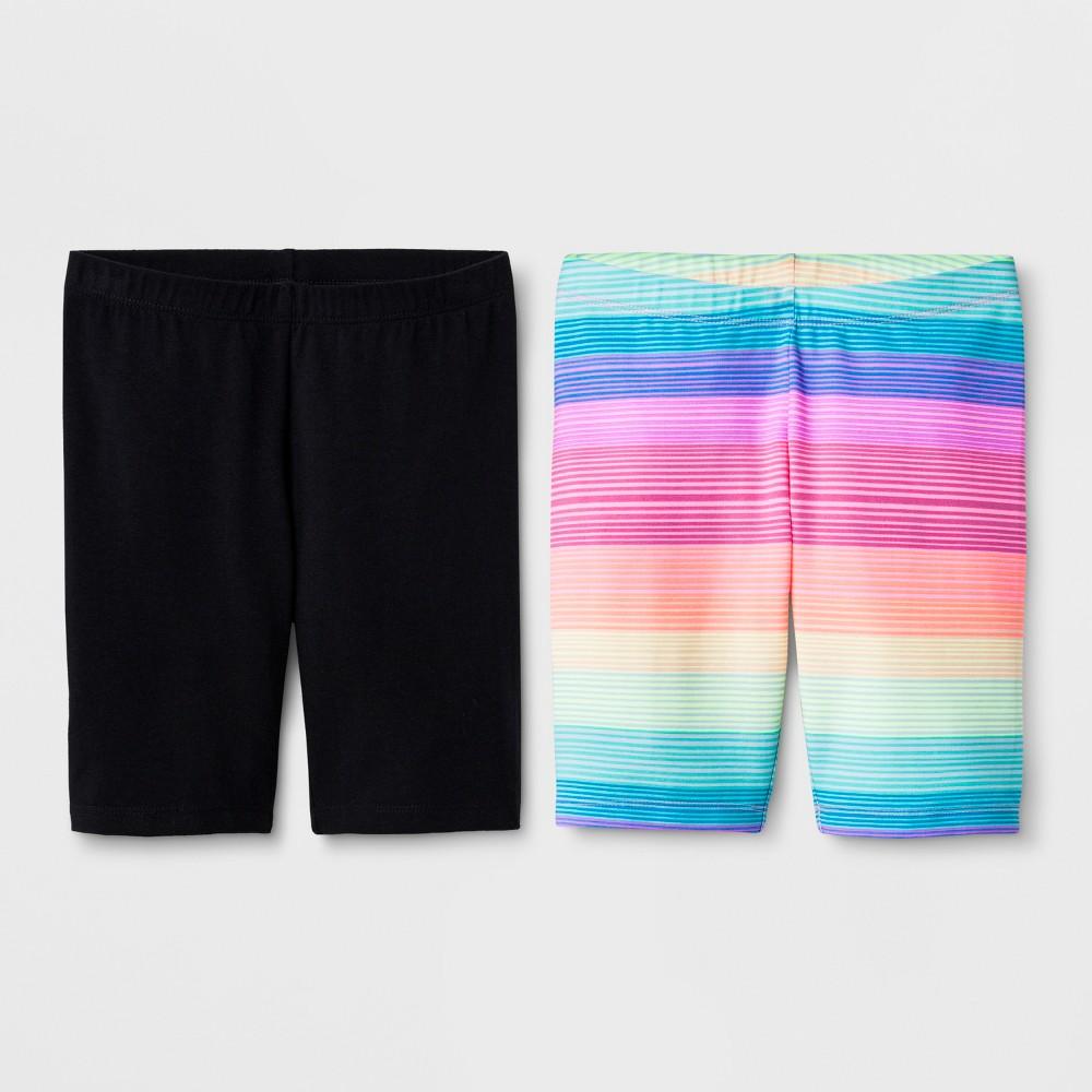 Girls' 2pk Mid-Length Bike Shorts - Cat & Jack Black/Rainbow XS
