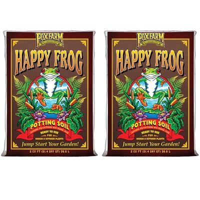 FoxFarm FX14047 Happy Frog pH Adjusted Organic Plant Garden Potting Soil Mix Bag, 2 Cubic Feet (2 Pack)