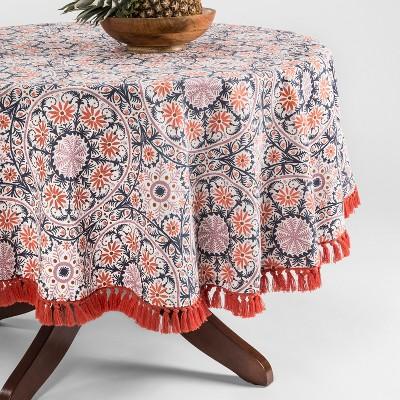 Orange/Blue Medallion Fringed Tablecloth 70  Round - Opalhouse™