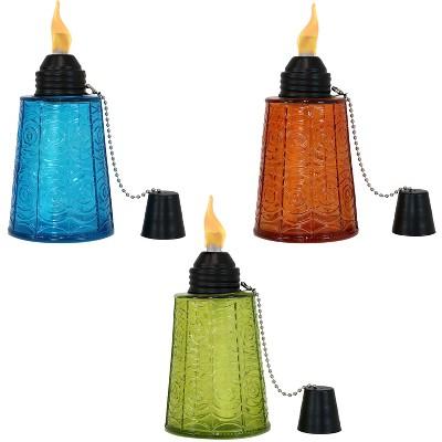 "6"" 3pk Glass Table Torch Blue/Orange/Green - Sunnydaze Decor"