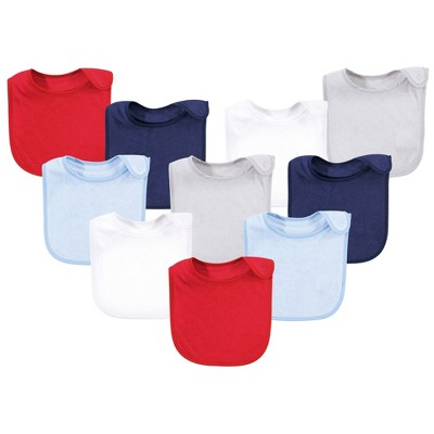 Hudson Baby Infant Boy Rayon from Bamboo Terry Bibs, Blue Red, One Size