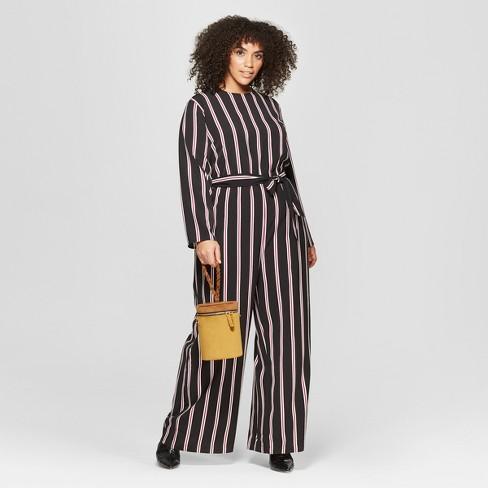 17544da5236d Women s Plus Size Striped Long Sleeve Crew Neck Jumpsuit - Who What Wear™  Black White 1X   Target