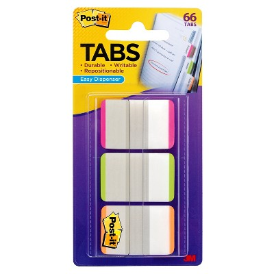"""Post-it 66ct 1"""" Repositionable Filing Tabs with On-the-Go Dispenser - Pink/Green/Orange"""