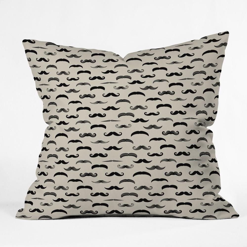 18x18 Little Arrow Design Co Mustache Madness Throw Pillow Gray - Deny Designs