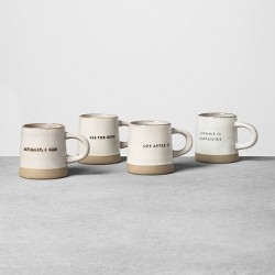 4pk Stoneware Phrase Mugs - Hearth & Hand™ with Magnolia