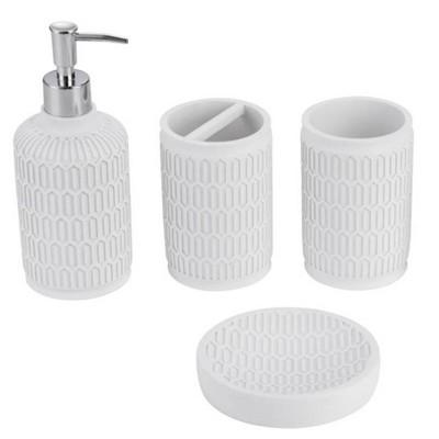 4pc Poliresine Hive Bathroom Set White - KRALIX
