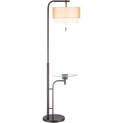 Possini Euro Design Modern Floor Lamp with Table and USB Charging Port Bronze Double Drum Shade Living Room Reading Bedroom Office