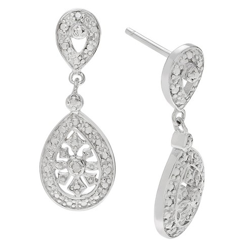 1/10 CT. T.W. Round-cut Diamond Pave Set Dangle Earrings in Sterling Silver (JK-I2) - Silver - image 1 of 2