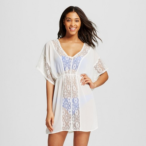 Women's Crochet Panel Cover Up Dress - Xhilaration™ Cream M - image 1 of 2