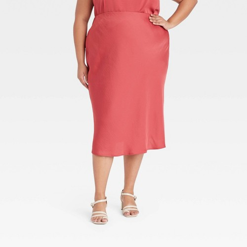 Women S Plus Size High Rise Midi Slip A Line Skirt A New Day
