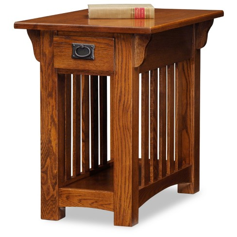 Mission Chair Side End Table With Storage Drawer And Shelf Medium Oak Leick Home