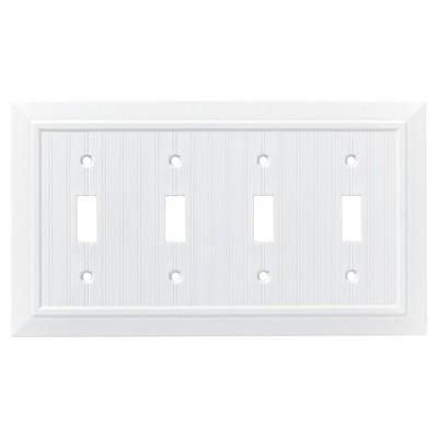 Franklin Brass Classic Beadboard Quad Switch Wall Plate White