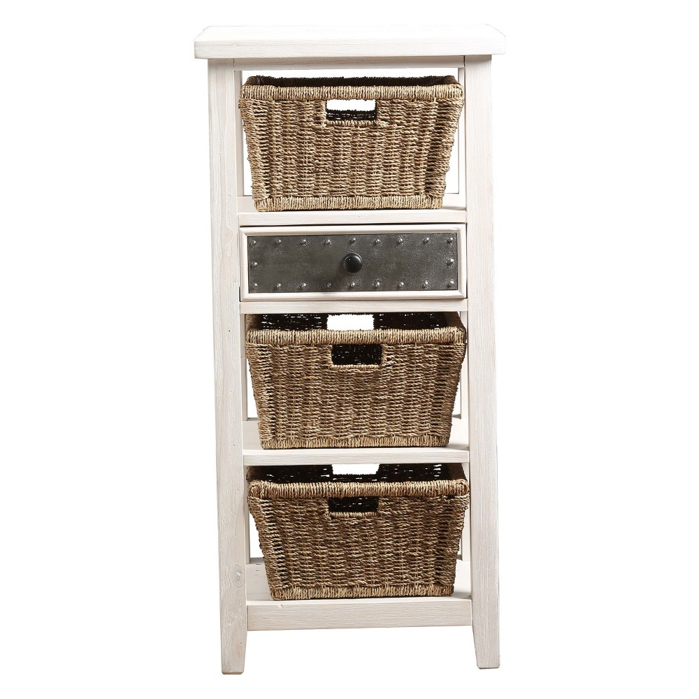 Image of Tuscan Retreat Basket Stand with Three (3) Baskets Frost/Textered Pewter (Silver) - Hillsdale Furniture
