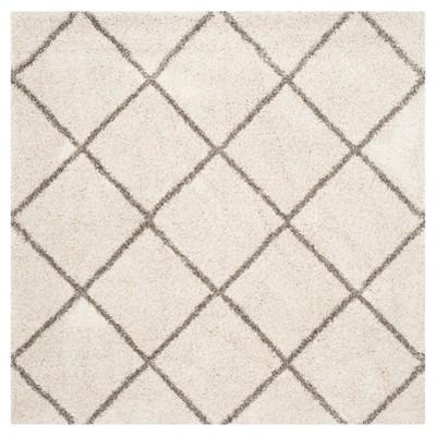 Hudson Shag Rug - Ivory/Gray - (5'X5' Square)- Safavieh