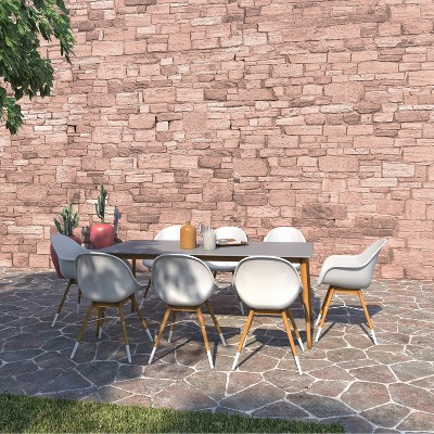 Lympne 9pc Patio Dining Set with Rectangular Table with Teak Finish - Amazonia