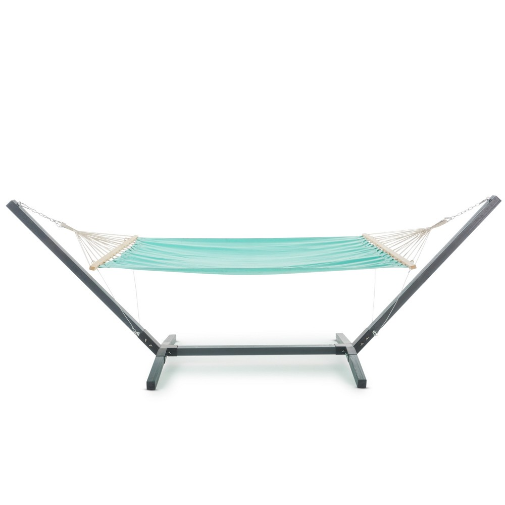 Aspen Hammock with Larch Wood Frame - Aqua Blue - Christopher Knight Home