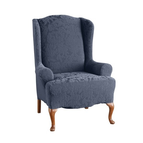 Stretch Jacquard Damask Wing Chair Slipcover - Sure Fit - image 1 of 3