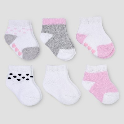 Baby Girls' 6pk Basic Ankle Terry Socks - Just One You® made by carter's Pink/Gray 3-12M