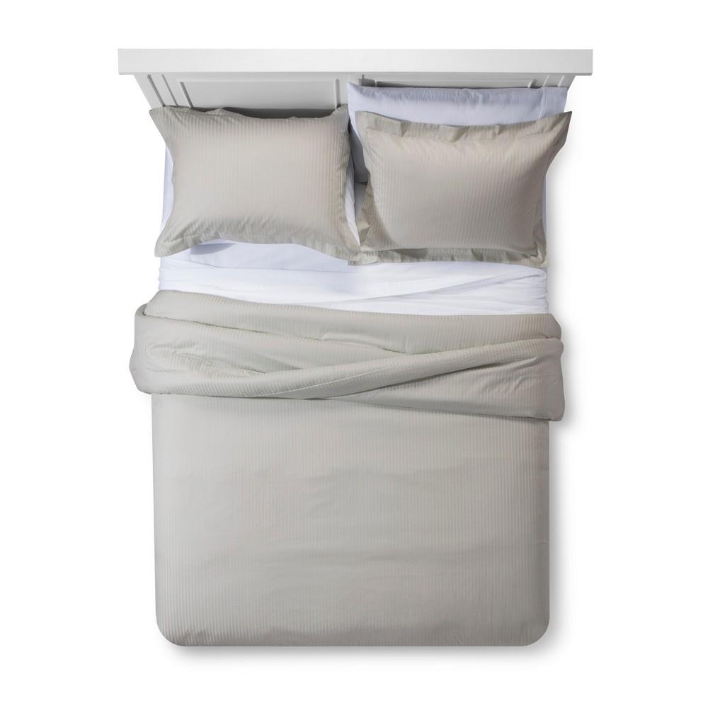 Pebble Damask Stripe Comforter Set (Queen) - Fieldcrest