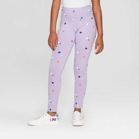 Girls' Dot Print Leggings - Cat & Jack™ Purple M - image 1 of 3