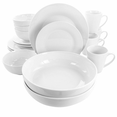 18pc Porcelain Carey Round Dinnerware Set White - Elama