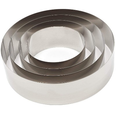 Juvale 4 Pieces Set Round Cake Baking Rings, Stainless Steel 6 - 12 Inch Cake Molder Rings for Tiramisu, Cheese, Sponge Cake and More
