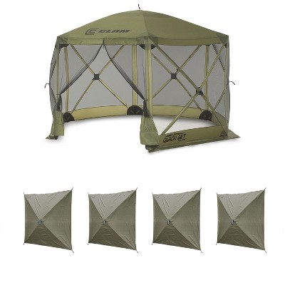 Clam Quick Set Escape Portable Canopy Shelter + Wind & Sun Panels (4 pack)